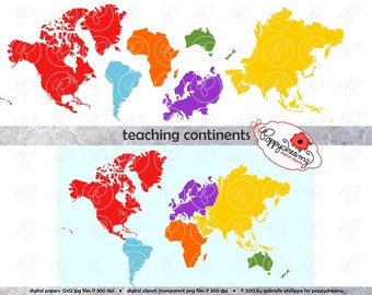 Teaching Continents Digital Clip Art: North America South America Europe Asia Africa Australia World Map Teaching Resources Clipart