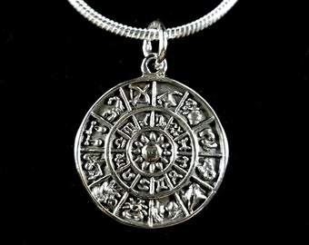 Handcrafted in Thailand Solid 925 Sterling Silver Astrological Zodiac Wheel Horoscope Amulet Pendant