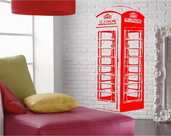 Uk Red Telephone Box -  Wall Art Sticker