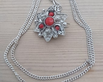 Vintage gemstone brooch /pendant and chain