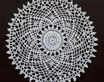 Vintage white crochet round doily