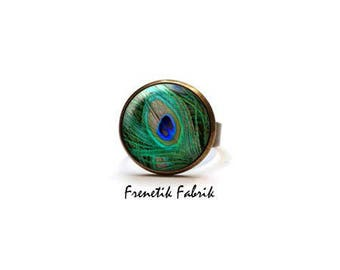 Ring ° ° jewelry Hippie Chic lime green blue Peacock feather - Bohemian Bronze