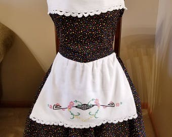 Polka Dot Vintage Linen Apron, Full Apron, Embroidered Apron, UpCycled, One of a Kind, RePurposed, Ready to Ship, MarjorieMae