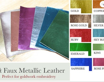 Faux Metallic Leather Goldwork Pack