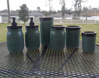 Ball Mason Jar Bathroom Set - Sage Green  - Full Bathroom Set or CHOOSE COLOR