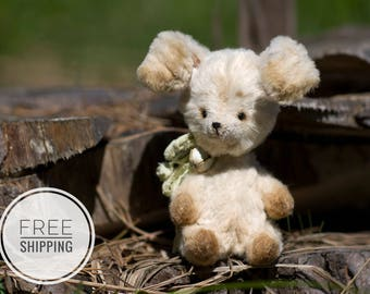 Artist teddy bunny Rabbit Plush toy Collection Gift for woman OOAK Collectible toy White toys Beige Bunny Rabbit Teddy Artist bunny rabbit