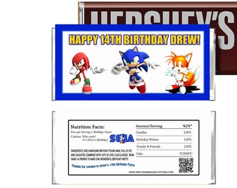 Sonic the Hedgehog Birthday Candy Wrappers, Sega Sonic Party Favors, DIY Party Printables, Sonic Games Chocolate Wrappers, Hershey
