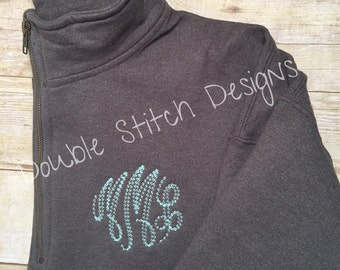Monogram sweatshirt, personalized pullover sweatshirt, quarter zip, personalized christmas gift, gift for wife, gift for mom, gift for her,