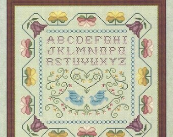 "Alphabet Sampler Counted Cross Stitch Pattern COLONIAL SAMPLER Tulips Birds Flowers Whispered by the Wind Designs 11.25"" x 11.25"""