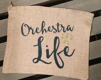 Orchestra is Life Faux Burlap Cosmetic Bag