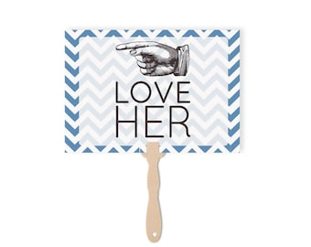 Wedding Paddles Love Him love Her | Wedding Photo Booth Props | Love Him Love Her Sign