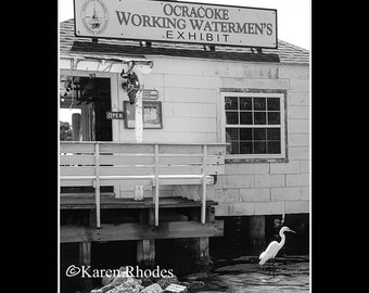 Watermens Exhibit Ocracoke Island Photographic Print matted in black North Carolina