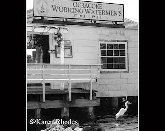 Watermens Exhibit Ocracoke Island Photographic Print matted in black North Carolina
