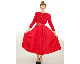 1980s dress red Christmas dress taffeta skirt wool top rhinestone belt formal dress full skirt Size M