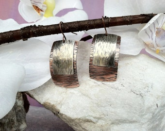 Sleek copper and silver earrings,  hammered metal earrings, mixed metal