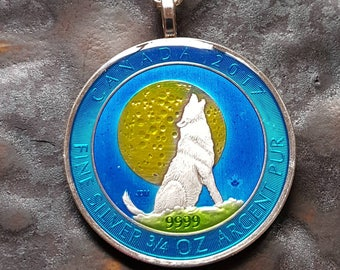 Canada -  Wolf Coin Pendant - hand painted