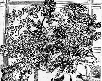 Window with Flowers - Original Intaglio Etching and Engraving,- Hand-printed