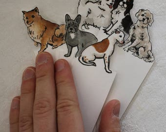 Dog  Bookmark - Choose one - toy dogs - hand painted