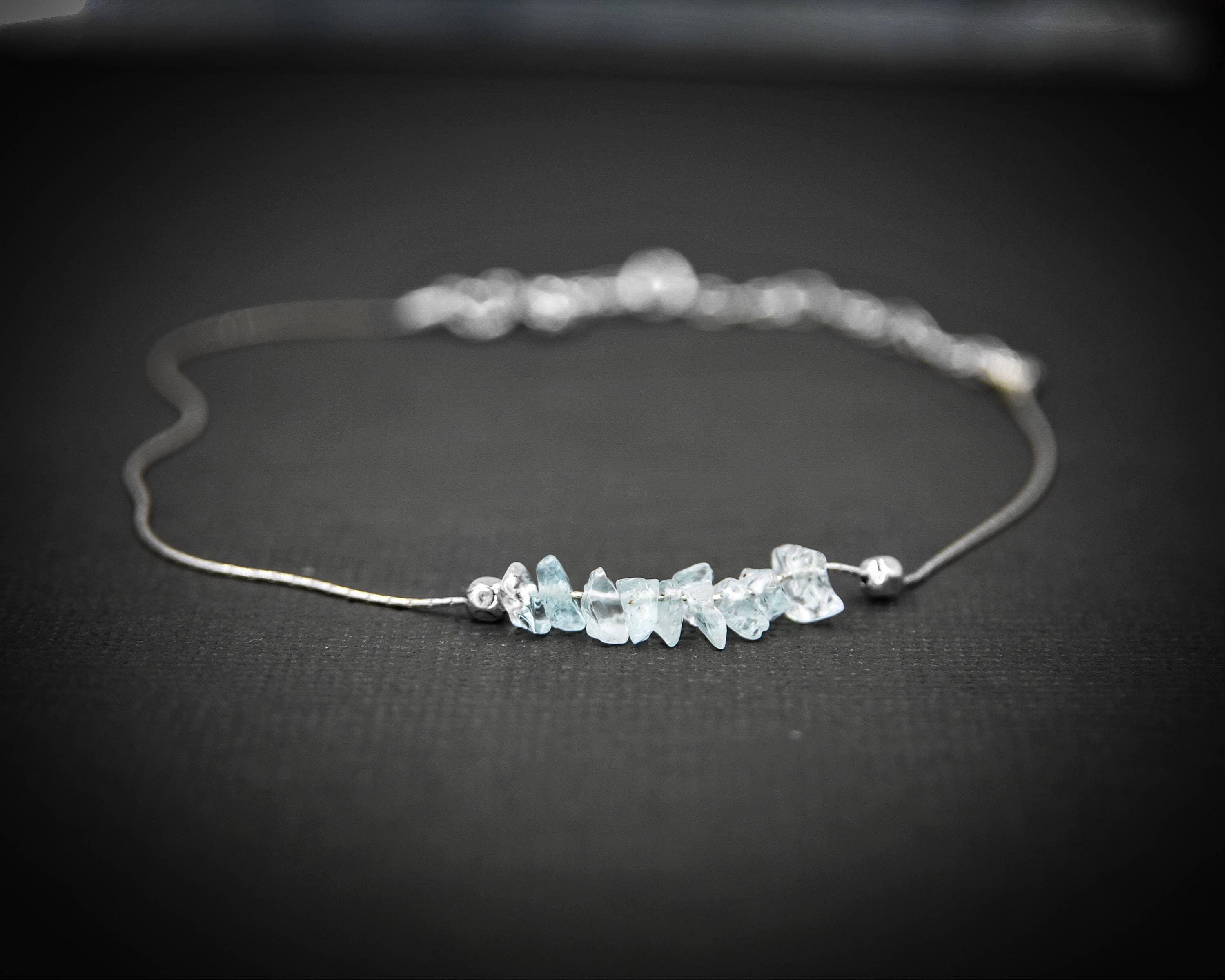 in image bracelet anklet white gold cut princess aquamarine