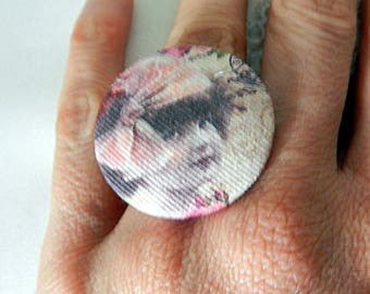 Adjustable Fabric Ring, Retro Girl