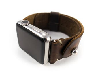 Leather Apple Watch Band 42mm Men Women, Brown Horween Chromexcel button stud strap, Handmade by Cave Leather Co