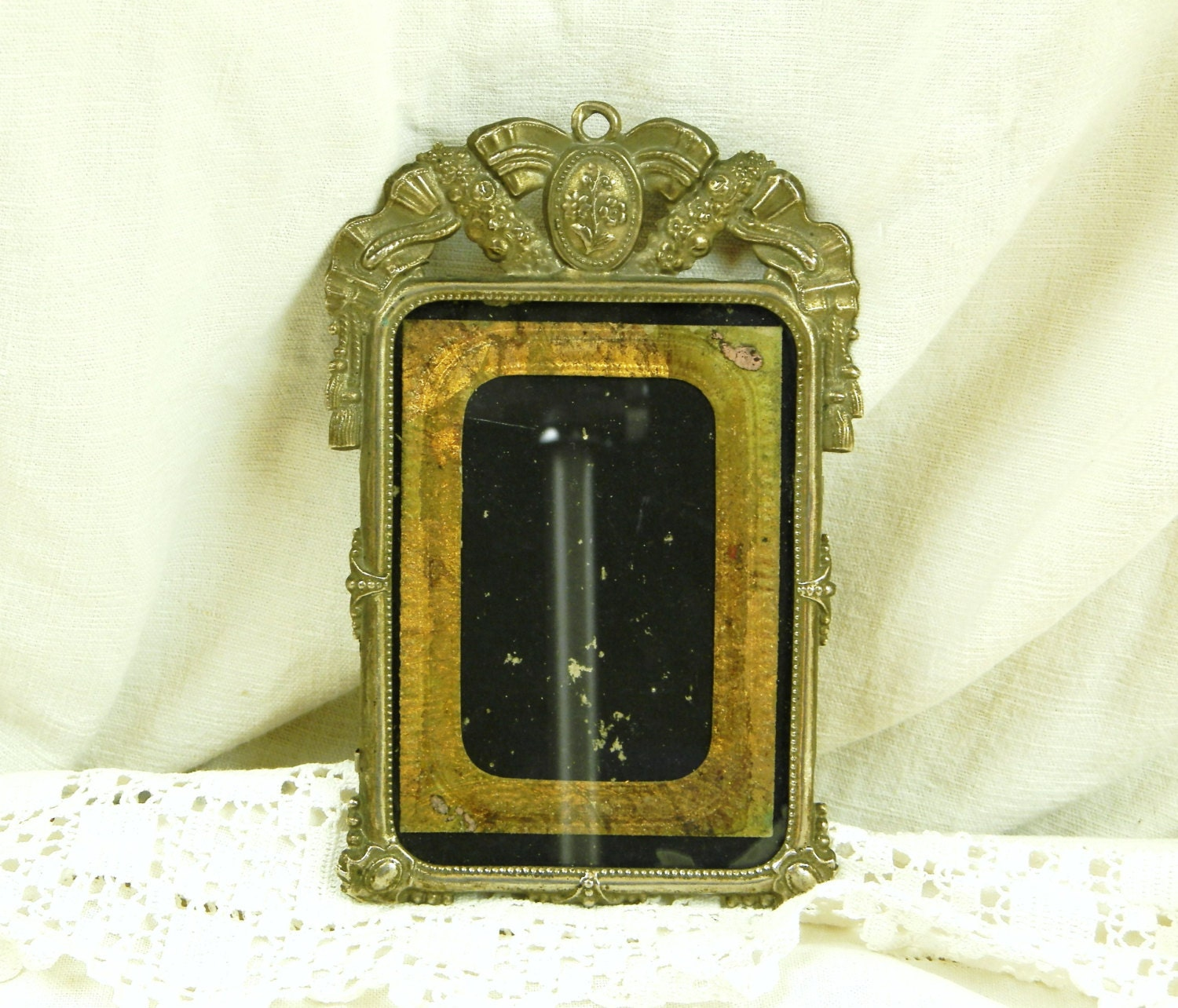 Antique French Embossed Metal Picture Frame / French Decor /