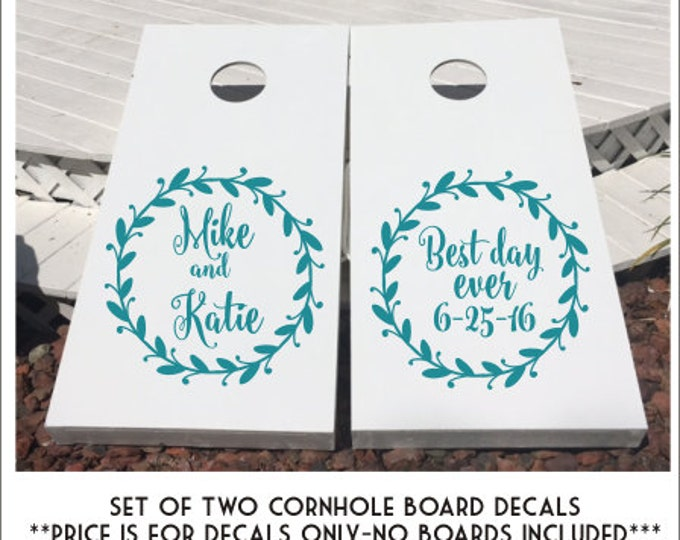 Wedding Cornhole Decals Cornhole Board Decals DIY Wedding Decals Set of Two Metallic Gold Rustic Wedding Decals Wedding Decor Personalized