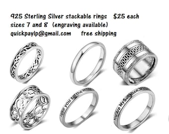 925 Sterling Silver Stackable Rings
