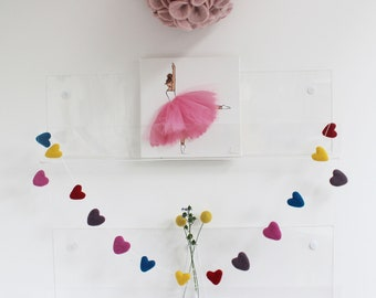 Colourful Heart Garland, Felt heart Garland, Kids Bedroom, Cake Smash Prop, Party Decor, Multi Coloured Heart Garland, 1st birthday party