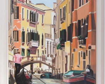 View from a Gondola (framed oil painting, 2016)