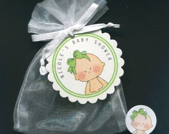 Personalized Baby Girl Baby Shower Favor Candy Bags, Baby With Green Bow Includes Tags, Candy Stickers, White Organza Bags