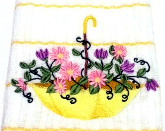 Dish Towels | Umbrella Garden Dish Towel | Kitchen Linens | Kitchen Towels | 100% Cotton Kitchen Towels | 15 x 24 Inch