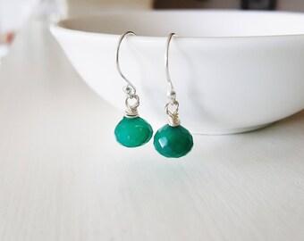 Green Briolette Earrings, Dark Green Chalcedony Earrings, Quartz Earrings, Silver Earrings, Wire Wrapped Earrings, Gemstone Earrings
