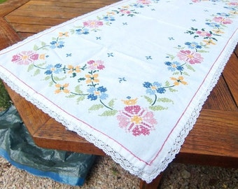 French vintage white linen table runner ,table center  hand made embroidered floral decor cotton
