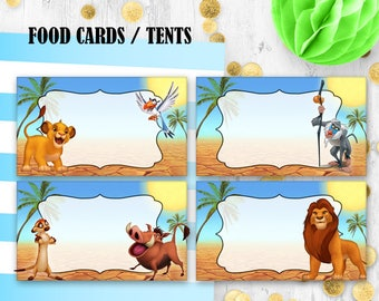 The lion king tent etsy lion the king food cards food tents place cards jungle birthday cards table decor bookmarktalkfo Images