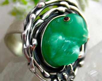 Frog Ring Chrysoprase Ring Sterling Silver Jewelry Izovella
