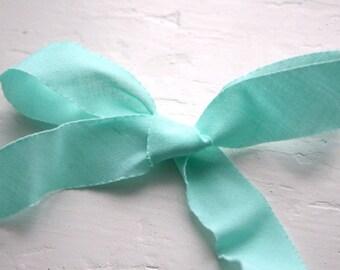 Aqua Blue Bias Cut Torn Edge Fabric Ribbon- 5 yards