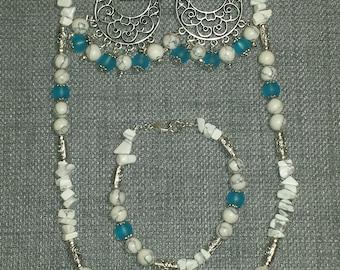 3-Piece White Turquoise Set