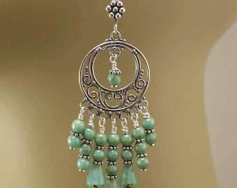 Bold Chandelier Earrings Boho Hippie Chic Gypsy Earrings Sterling Silver Turquoise Chandeliers Bohemian Jewelry