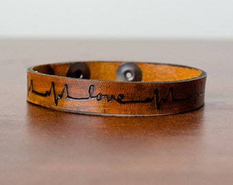 Skinny Heartbeat Lifeline with Love Adjustable Snap Closure Bracelet Cuff