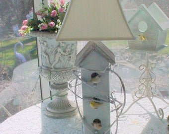 Birdhouse Lamp Folkart French Country Prairie Farmhouse Cottage Chic