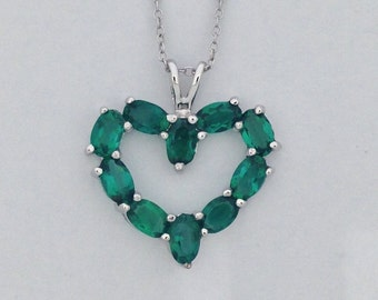 Created Emerald Heart Pendant 925 Sterling Silver