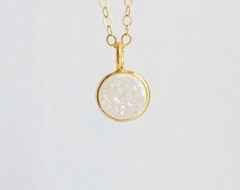Small Gold Druzy Necklace, White Druzy Necklace, 14k Gold Filled Chain, White Rainbow Druzy Charm, Dainty Necklace, Drusy Charm Necklace