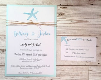 Beach Themed Wedding Invitation - Destination Wedding - Starfish invitation