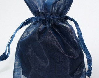 Wedding Favors Table Decorations NAVY Marine Blue 3x4 Organza Bags 100