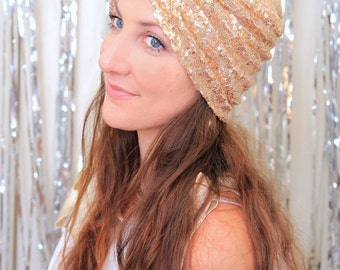 Fashion Turban in Light Gold Sequins - Sparkly Bohemian Style Hair Wrap - Sequin Hair Accessories