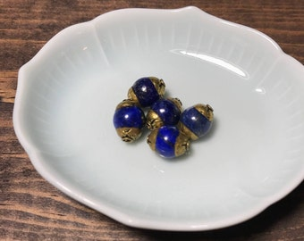Lapis + Brass Beads/ 5pcs