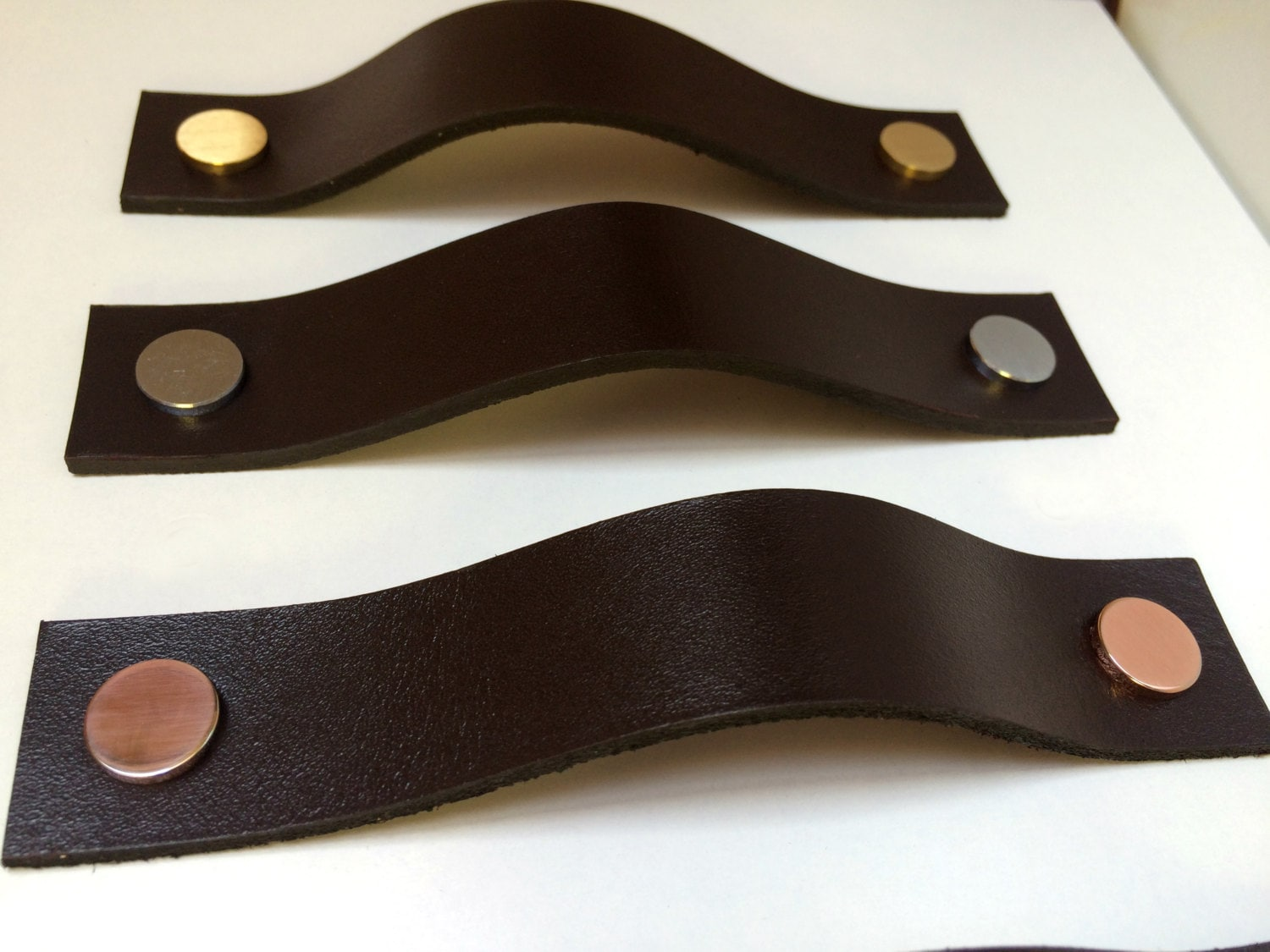 Leather Pulls / Leather Handles / Leather Cabinet Hardware / Leather ...