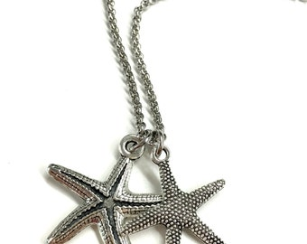 Mens Starfish Necklace. Guy Pendant Necklace. Beach Jewelry for Him and Her. Stainless Steel Chain Necklace. Gift for Boyfriend