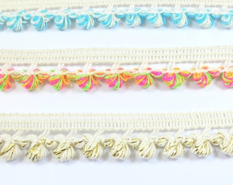 15mm Flat Knitted Cotton Trim with Cocoon-like Tassels/5 meters